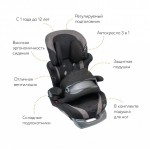Кресло детское автомобильное Saratto Cruise 4S, группа 1/2/3, черно-серое